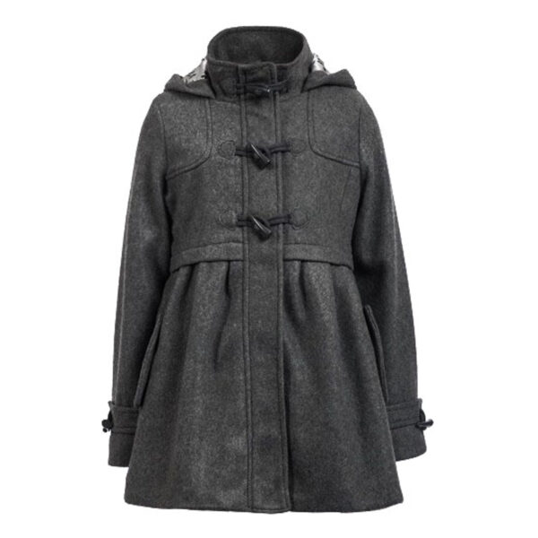 Grey Hooded Girl Classic Coat 1