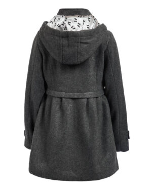 Grey Hooded Girl Classic Coat