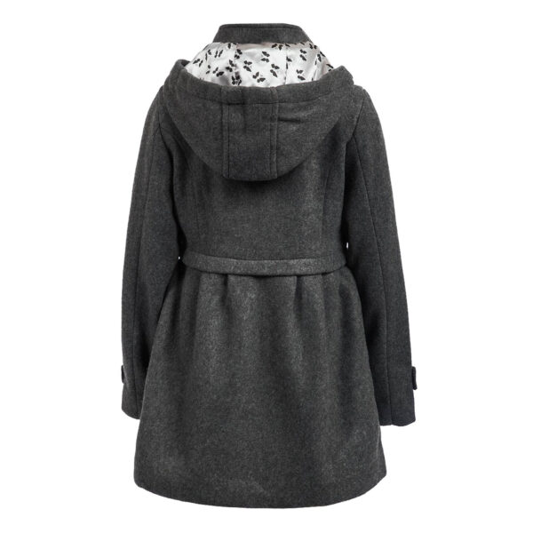 Grey Hooded Girl Classic Coat 2