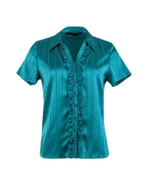 Ladies Short Sleeve Satin Blouse