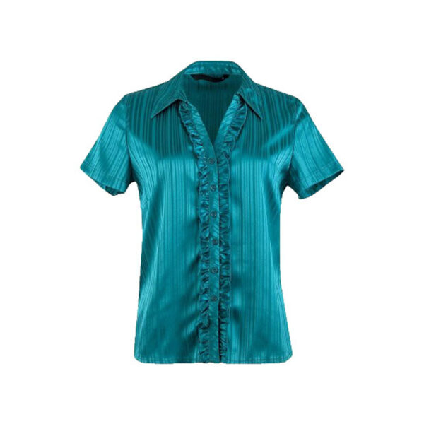 adies Short Sleeve Satin Blouse 1