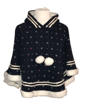 Anchor Pattern Hooded Poncho